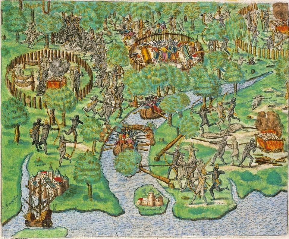 Johann T de Bry Scontro tra indios e conquistadores
