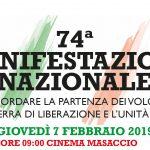 74^ MANIFESTAZIONE NAZIONALE PER RICORDARE LA PARTENZA DEI VOLONTARI ALLA GUERRA DI LIBERAZIONE E L'UNITÀ D'ITALIA