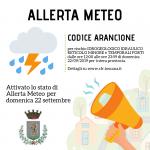 ALLERTA METEO CODICE ARANCIONE PER DOMENICA 22 SETTEMBRE 2019