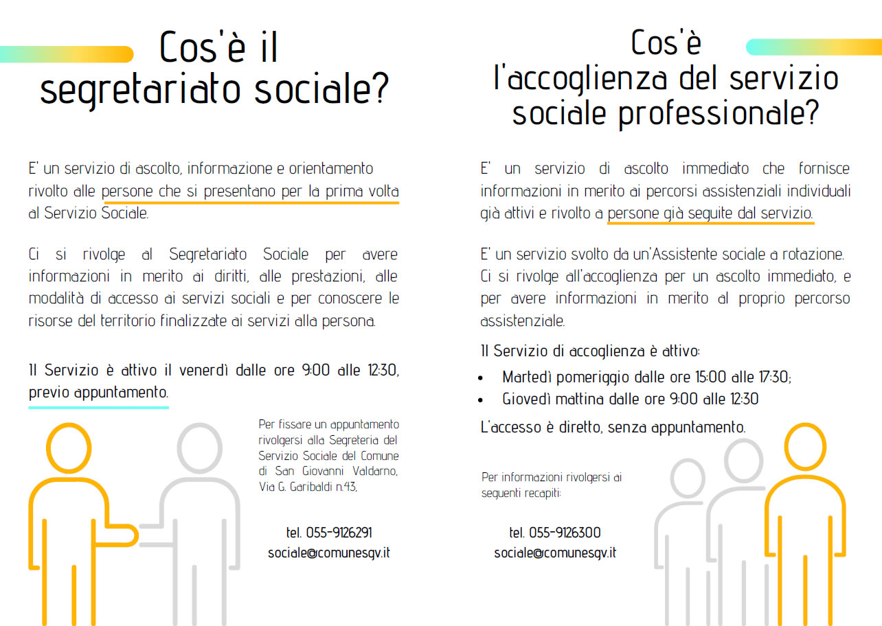 SEGRETARIATO SOCIALE: NUOVO MODELLO ORGANIZZATIVO PER IL SERVIZIO SOCIALE DEL COMUNE DI SAN GIOVANNI VALDARNO