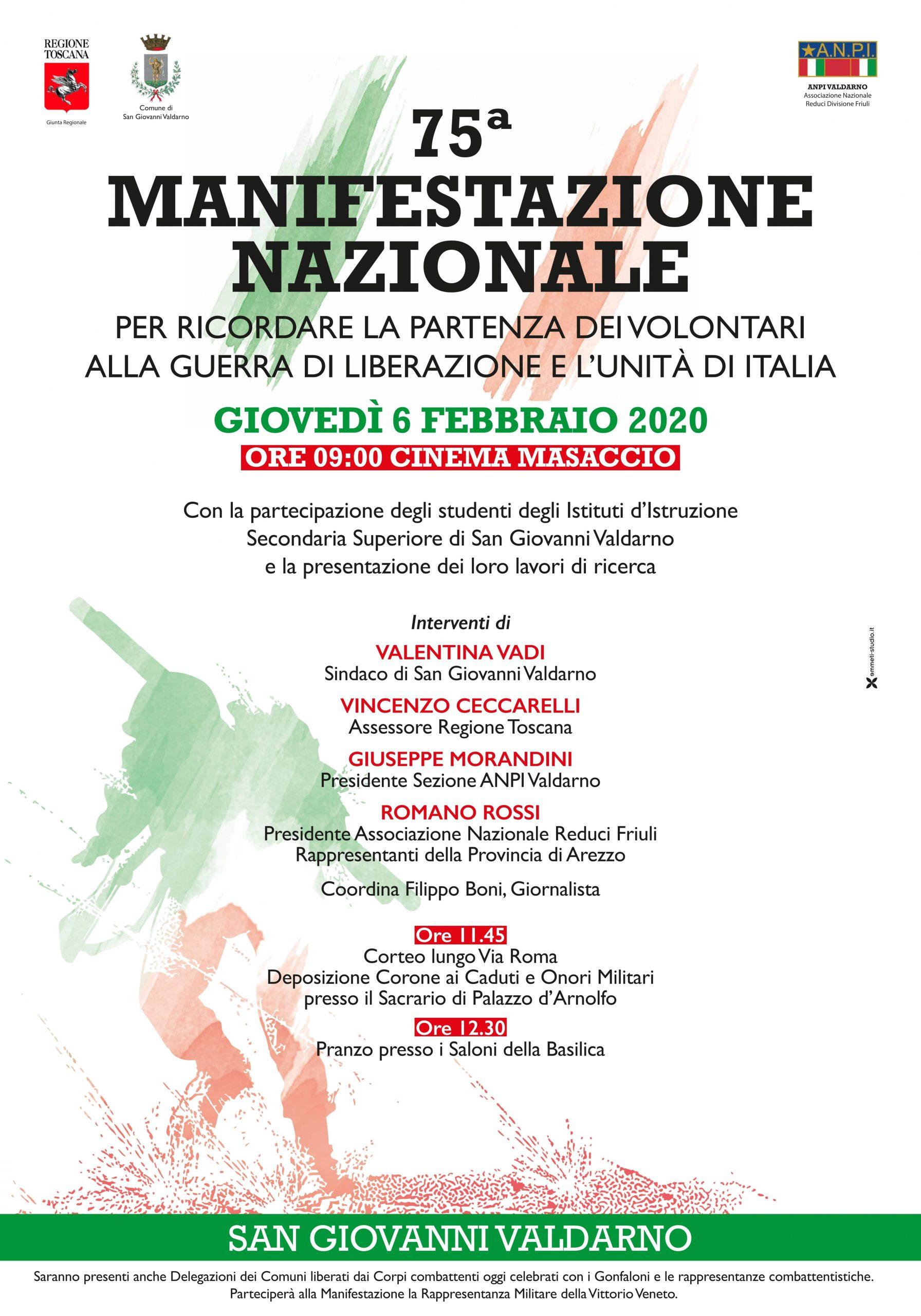 75 MANIFESTAZIONE NAZIONALE PER RICORDARE LA PARTENZA DEI VOLONTARI ALLA GUERRA DI LIBERAZIONE E L'UNITA' D'ITALIA