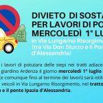 Mercoledì 1 luglio DIVIETO DI SOSTA in Via Lungarno Risorgimento