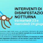DISINFESTAZIONE NOTTURNA TRA MARTEDÌ 23 E MERCOLEDÌ 24 GIUGNO 2020