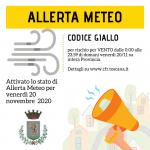 Allerta meteo: codice giallo per forte vento per l'intera giornata di oggi, venerdì 20 novembre