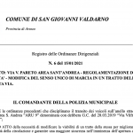 Viabilità, da lunedì 18 gennaio inversione di marciaVia V. Pareto – Area Sant'Andrea